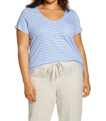 plus size women's caslon rounded v-neck tee, size 2x - coral