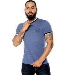 camiseta azul-blanco-negro americanino