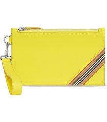 burberry icon stripe clutch bag - yellow