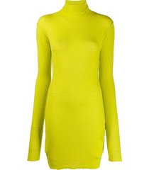 unravel project fine knit roll neck dress - yellow