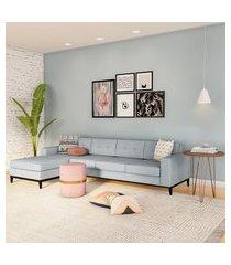 sofá 4 lugares surprised com chaise esquerdo pés e base em madeira linho cotton cinza