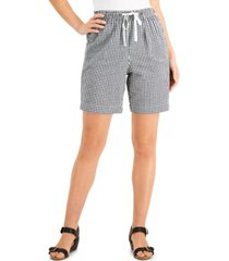 karen scott petite gingham cotton drawstring shorts, created for macy's