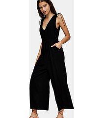 black v neck jumpsuit with linen - black
