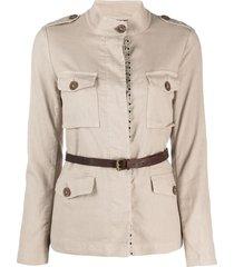 bazar deluxe belted shirt jacket - neutrals