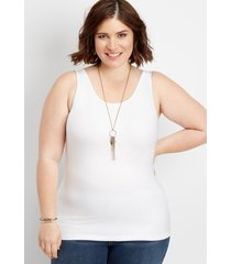 maurices plus size womens scoop neck layering tank white