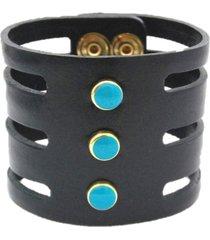 pulseira crisfael acessórios larga com tiras em couro e detalhes em metal e pedra preto