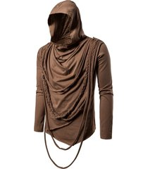solid color braided rope decoration hoodie