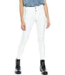 pantalón medium waist silueta retro efecto cuero se sugiere comprar una talla más a la habitual color blue