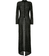 retrofete open-knit long-sleeved maxi dress - black