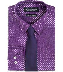nick graham men's slim-fit dress shirt & tie