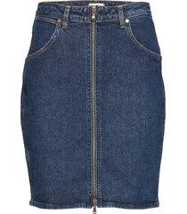 high zip skirt kort kjol blå wrangler
