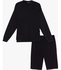 womens cut it short sweatshirt and biker short set - black
