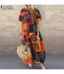 zanzea s-5xl vestido camisero estampado floral vintage de mujer vestido midi de lino de algodón kaftan -amarillo