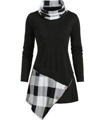 cowl neck plaid panel buttoned asymmetrical top