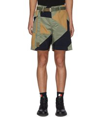 belted geometric patchwork shorts