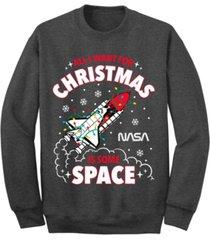 men's nasa christmas in space crew fleece sweatshirt
