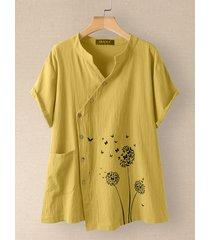 camicetta 100% cotone manica corta con bottoni irregolari con stampa a fiori di farfalla con tasca