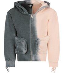 cinzia araia grey and pink girl sweatshirt with fringes