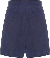 short feminino linho - azul