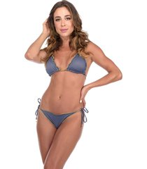 biquíni flavia donadio beachwear ripple punta cana azul dupla face com bojo removível