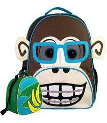 kit infantil mochila escolar mumagi + lancheira macaco kinho masculino
