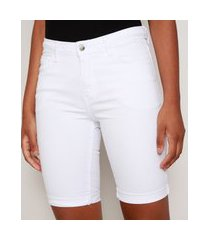 bermuda de sarja feminina ciclista cintura alta com bolsos branca