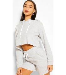 korte hoodie en shortset, grijs gemêleerd