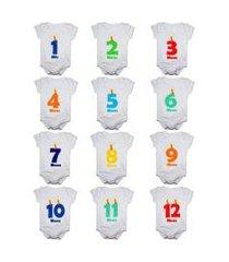 kit 12 body bebê mesversario manga curta números vela 1 a 12 meses masculino