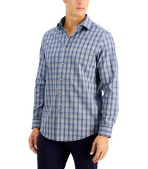 tasso elba men's ferro dobby plaid shirt, created for macy's