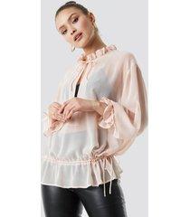 na-kd boho tie detail blouse - pink