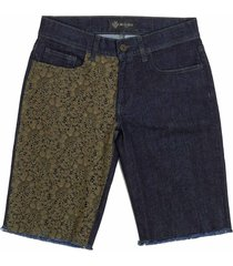 denim stretch florealace shorts for woman