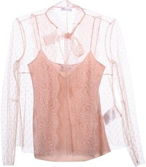 red valentino bow detail see-through sleeve shirt