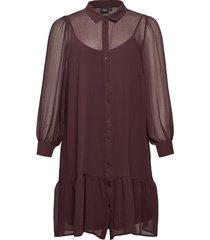 dress buttons plus collar long sleeves kort klänning röd zizzi
