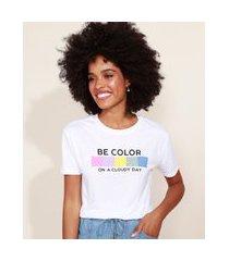 """blusa de moletinho feminina be color"""" manga curta decote redondo branco"""""""