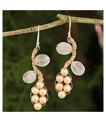 cultured pearl and rose quartz beaded earrings, 'sweet peach ivy' (thailand)