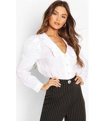 katoenen blouse met kraag en parelknopen, white