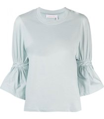 see by chloé braided sleeve blouse