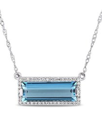 """baguette cut blue topaz (3 ct. t.w.) and diamond (1/8 ct. t.w.) halo 17"""" necklace in 14k white gold"""