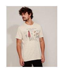 "camiseta masculina  natural history samples"" manga curta gola careca bege"""