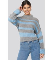 na-kd trend striped round neck oversized knitted sweater - grey,blue