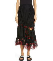 women's simone rocha embroidered asymmetrical tulle skirt, size 6 us / 10 uk - black