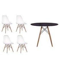 kit mesa jantar eiffel 80cm preta + 4 cadeiras eiffel transparentes