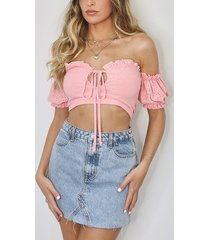 broderie anglaise bardot crop top, coral