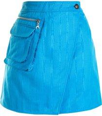 marine serre jacquard cargo-pocket wrap skirt - blue