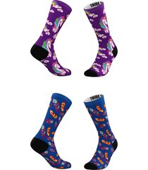 women's tribe socks assorted 2-pack purple clouds & blue feathers crew socks, size one size - blue