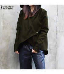 zanzea mujeres camiseta casual de manga larga capa de la chaqueta rompevientos trench coat tops -ejercito verde