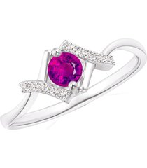 pure 925 silver red ruby 14k white rhodium fn solitaire with accents ring