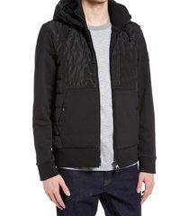 men's boss seeger 41 quilted zip-up hoodie, size medium - black