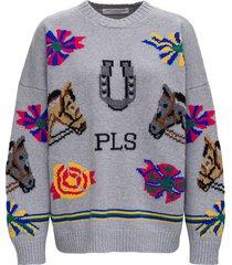 philosophy di lorenzo serafini grey wool printed sweater