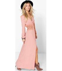maxi jurk met kanten middel en knopen, rose